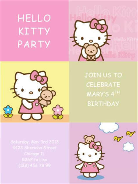 hello kitty party invitation free printable birthday