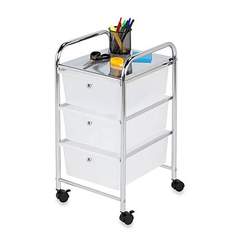 bathroom rolling storage cart buy honey can do 174 steel 3 drawer rolling storage cart from bed bath beyond