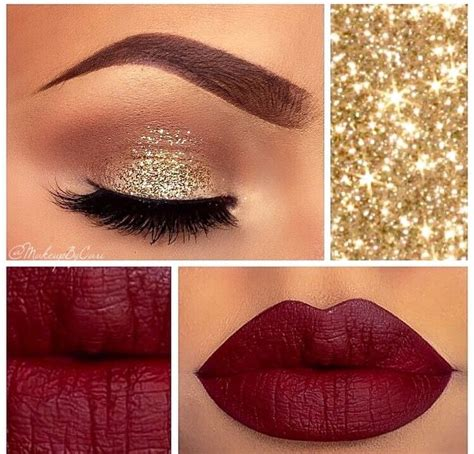 Make Glitter Lipstick Gold 5 and gold makeup looks for new year