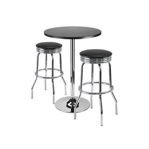 Pieces In Stool by 3 Pub Set With Swivel Stools In Black 93362