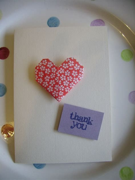Origami Thank You Card - origami thank you card with patterned and blue