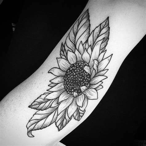 black and white sunflower tattoo 24 warm sunflower designs