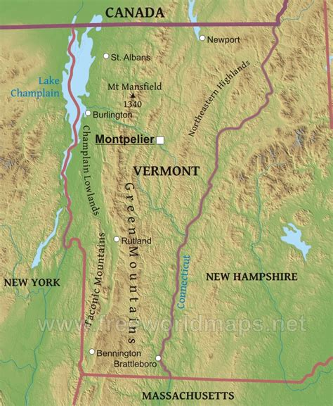 Physical map of Vermont