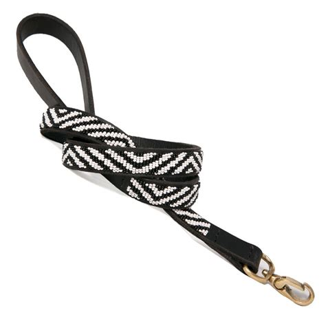 Handmade Leather Leashes - collection zebra beaded leash
