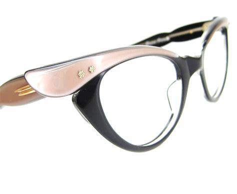 vintage cat eye glasses vintage 50s cat eye eyeglasses or sunglasses winged rose black