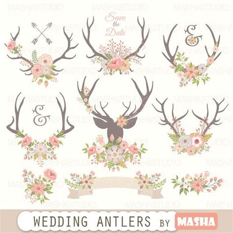 Animasi Wedding Free by Antlers Clipart Quot Wedding Antlers Clipart Quot With Flower