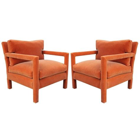 Parsons Armchair by Fabulous Pair Of Milo Baughman Parsons Style Chairs In