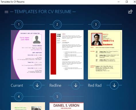 free windows 10 resume builder app with preset resume cv templates