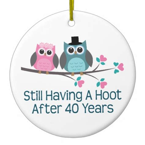 gift for 40th wedding anniversary hoot double sided
