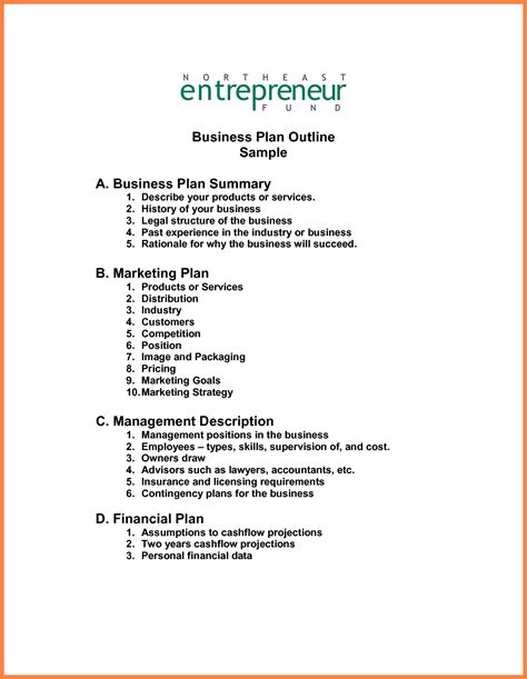 business outline template 8 exle of a business plan layout bussines 2017