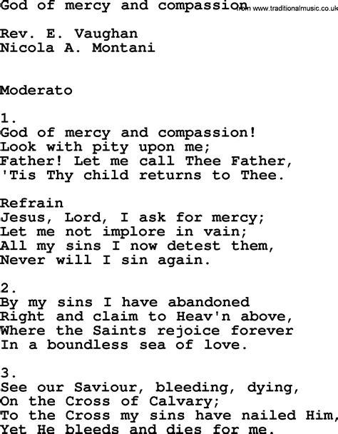 lyrics of mercy catholic hymns song god of mercy and compassion lyrics
