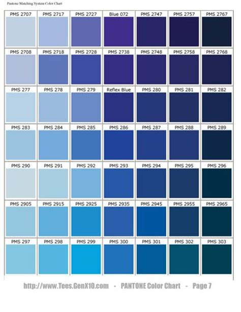 shades of blue chart pantone color chart pms screen printing pantone