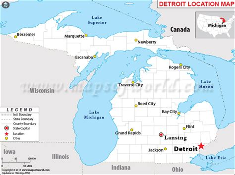 map of usa detroit where is detroit michigan where is detroit mi located