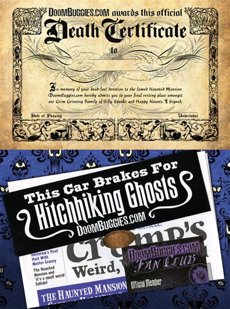 Fan Club Membership Card Template by Doombuggies Presents The Haunted Mansion Certificate