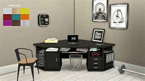 cc furniture sims 4 corner deskconverted from sims 3mesh by