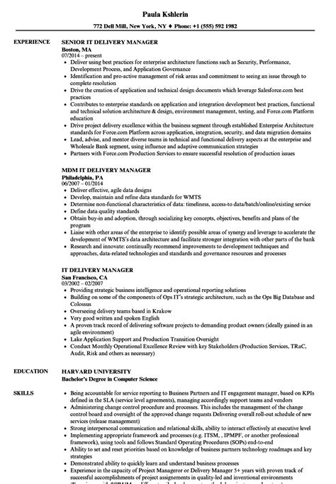 attractive it delivery manager sle resume sketch