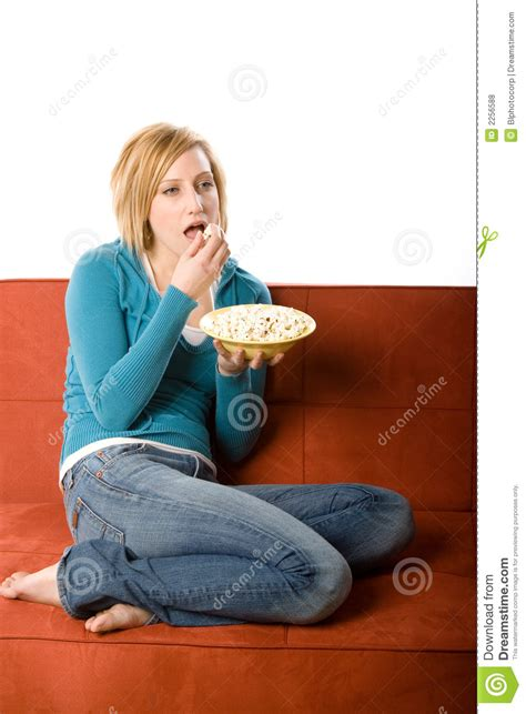 woman eats couch woman eating on couch royalty free stock photos image