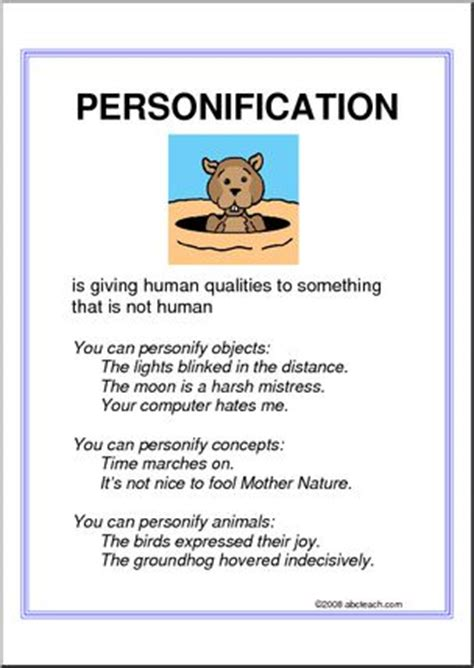printable personification poster personification upper elem poster i abcteach com abcteach