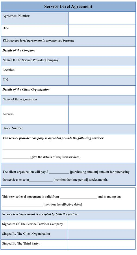 service level agreement template e commercewordpress