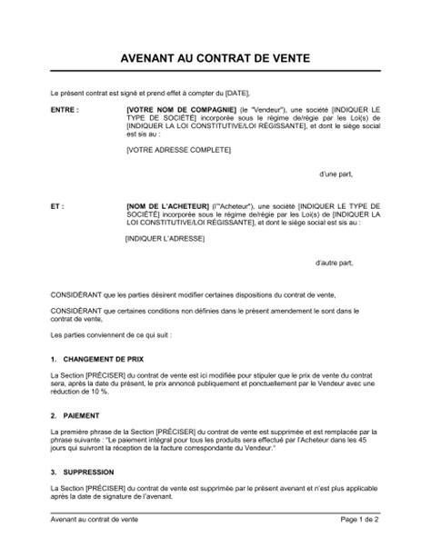 Exemple Avenant Transfert De Contrat De Travail Avenant Au Contrat De Vente Template Sle Form