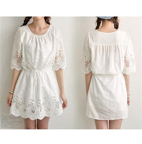 Cotton Dress S M 30285 2017 2015 summer white lace linen cotton dress hollow out