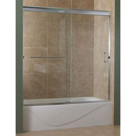 Glass Shower Doors For Tubs Foremost Marina 60 In X 60 In Semi Framed Sliding Tub Door In Silver With 3 8 In Clear Glass
