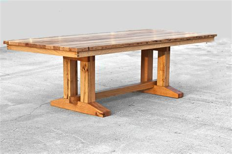 Salvaged Wood Dining Table Barnwood Trestle Dining Table Reclaimed Wood Dining Table