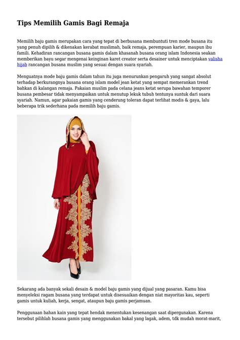 Baju Muslim Remaja Untuk Hang Out tips memilih gamis bagi remaja by klikgayahidupnet issuu