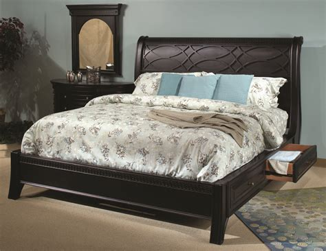 Black Sleigh Bedroom Set by American Federal Black Storage Sleigh Master Bedroom Set