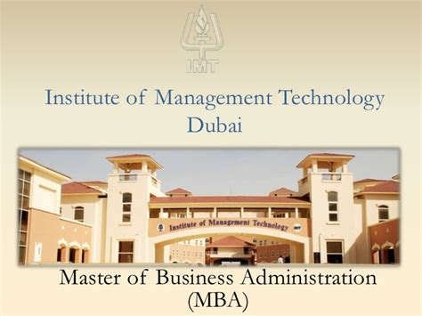 Mba Management In Dubai by Imt Dubai Mba Program