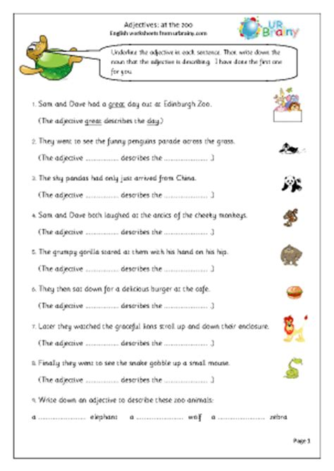 printable english worksheets ks2 adjectives at the zoo english worksheet for key stage 1