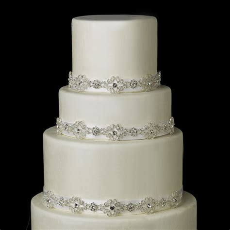 Wedding Cake Jewelry by Ivory White Silver Austrian Wedding Cake Ribbon