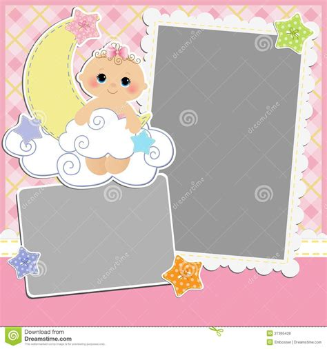 Cute Template For Baby S Card Stock Vector Illustration Of Album Birthday 27365428 Baby S Card Template