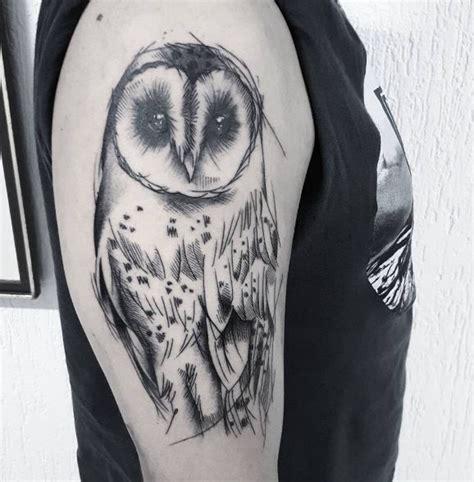 Grey Ink Shaded Barn Owl Tattoo On Half Sleeve Barn Owl On Arm