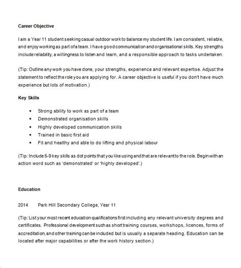 high school student resume exles 13 high school resume templates pdf doc free