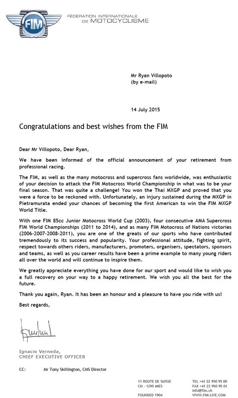 Official Letter Best Wishes Best Wishes Letter From The Fim Villopoto Rv2 Motocross Supercross