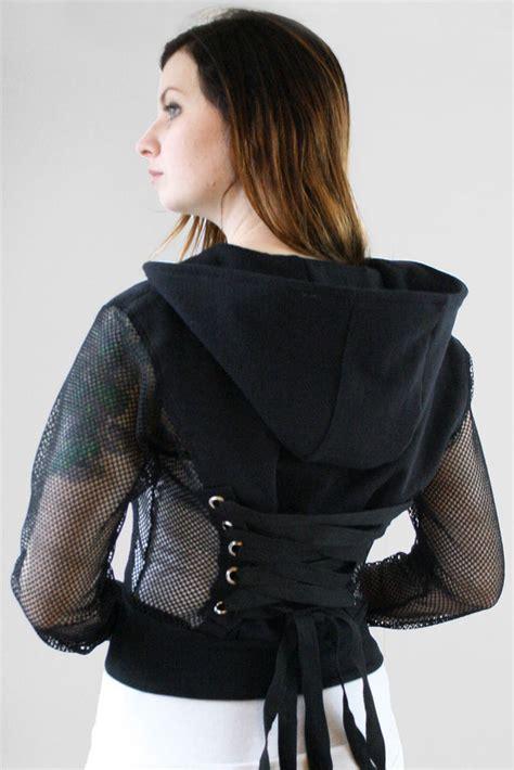 jaket hoodie crop size s m fishnet fleece corset hoodie cropped sweatshirt jacket