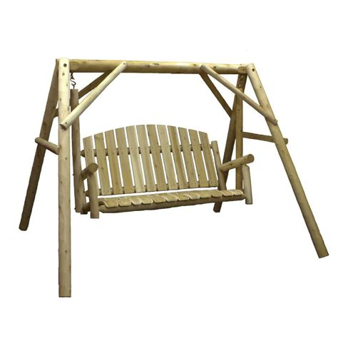 lowes outdoor swings shop lakeland mills natural cedar porch swing at lowes com