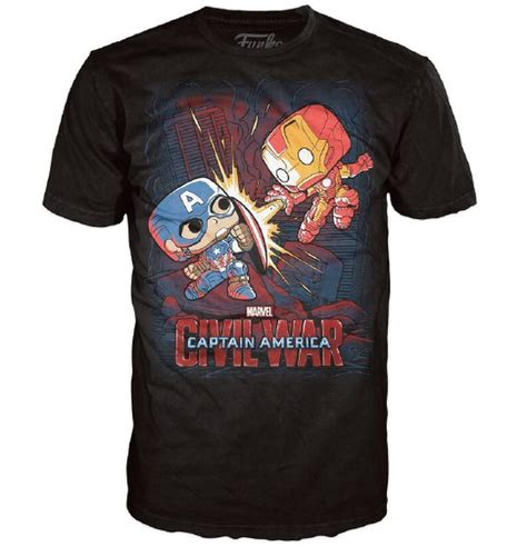 marvel civil war fight pop t shirt black merchandise zavvi