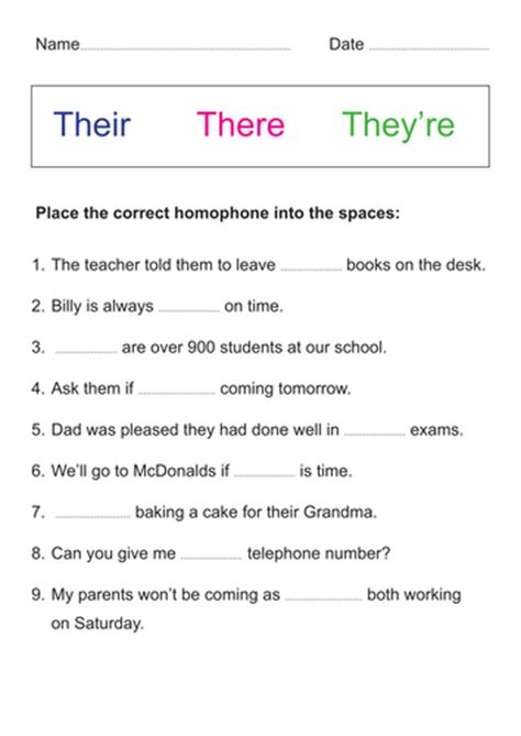 There Their And They Re Worksheets by Homophones Their There They Re By Mdudson22 Teaching