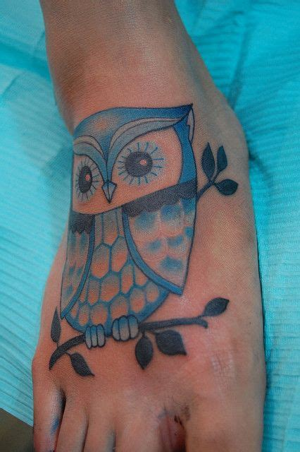 blue owl tattoo 1000 ideas about owl foot tattoos on foot
