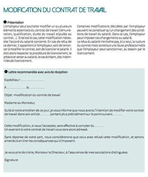 modele lettre modification contrat de travail document