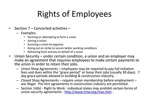 Nlra Section 7 Rights by Ppt The National Labor Relations Act Nlra The