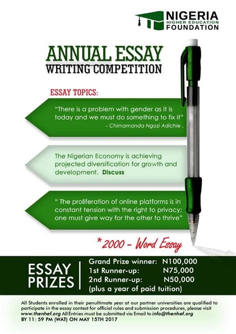 Higher Education Essay by Nigeria Higher Education Foundation Nhef 3rd Annual Scholarship Essay Competition 2017