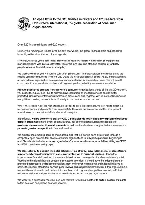 Finance Minister Letter consumers international open letter to g20 finance ministers by consumers international issuu