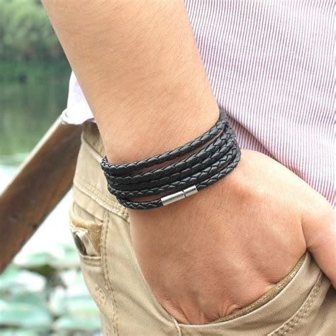 Gelang Vintage Unik Kulit Bracelet Kulit Leather gelang braided kulit 5 laps black jakartanotebook