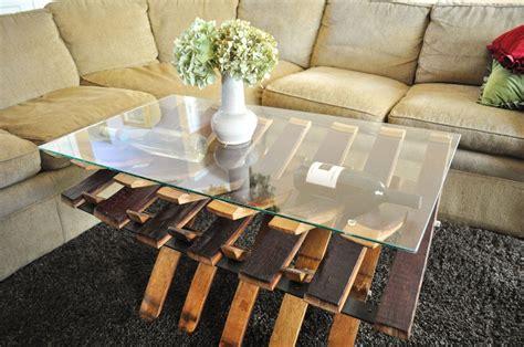 Handmade glass top wine barrel coffe table by winespirations custommade com