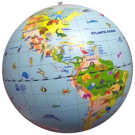inflatable world globe  animals caly cm