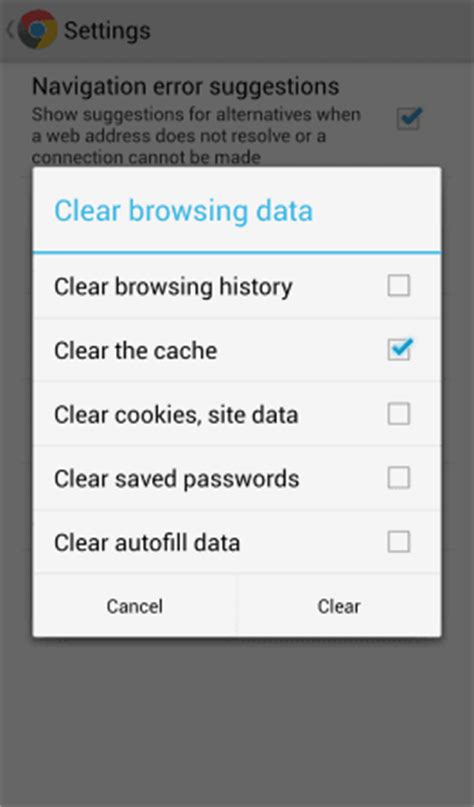 clear chrome cache android chrome for android clear cache history cookies