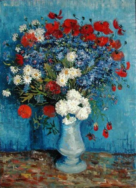 vaso di fiori gogh vaso di fiori con fiordalisi e papaveri olio su tela di